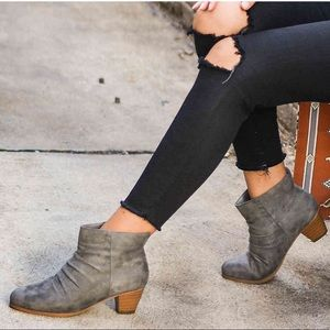 Tan In Sight Slouch Block Heel Ankle Boot